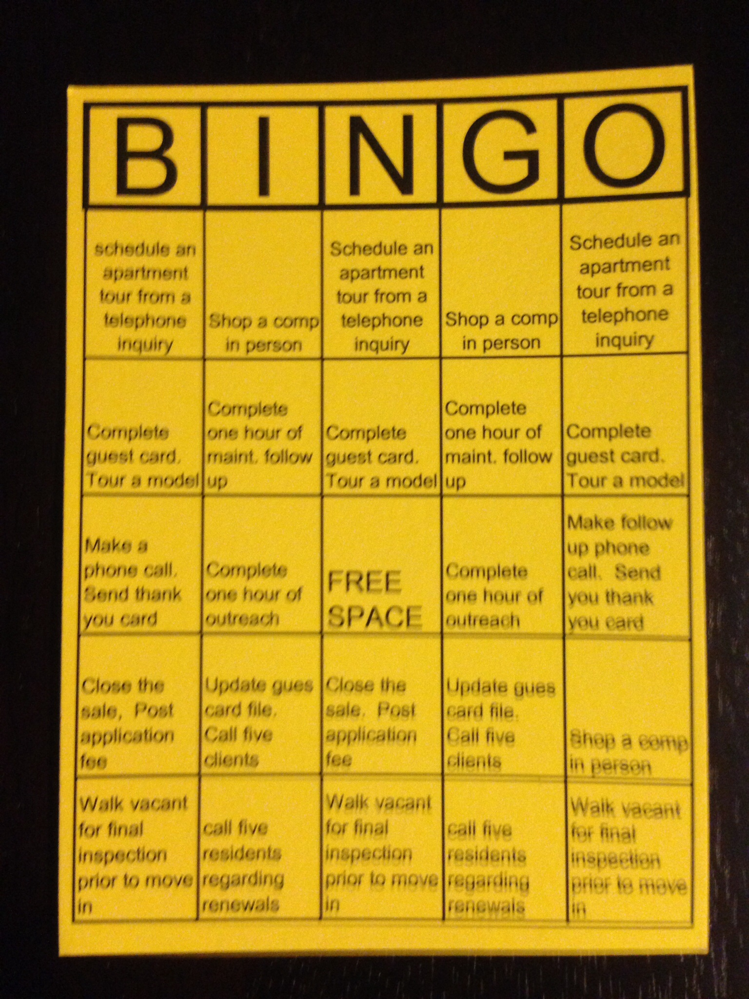 bingo a theme for daily tasks multifamily is national bingo month creating a bingo card leasing maintenance or administrative tasks can create a fun environment for some team